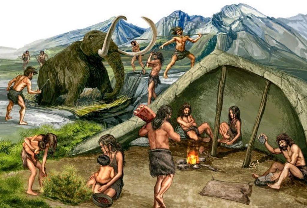 Rappresentazione di scene di vita primitiva; origine della piadina romagnola