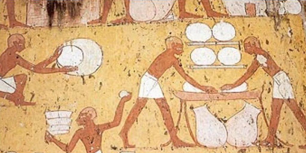 Rappresentazione rupestre di età egizia, della produzione del pane; storia della piadina romagnola