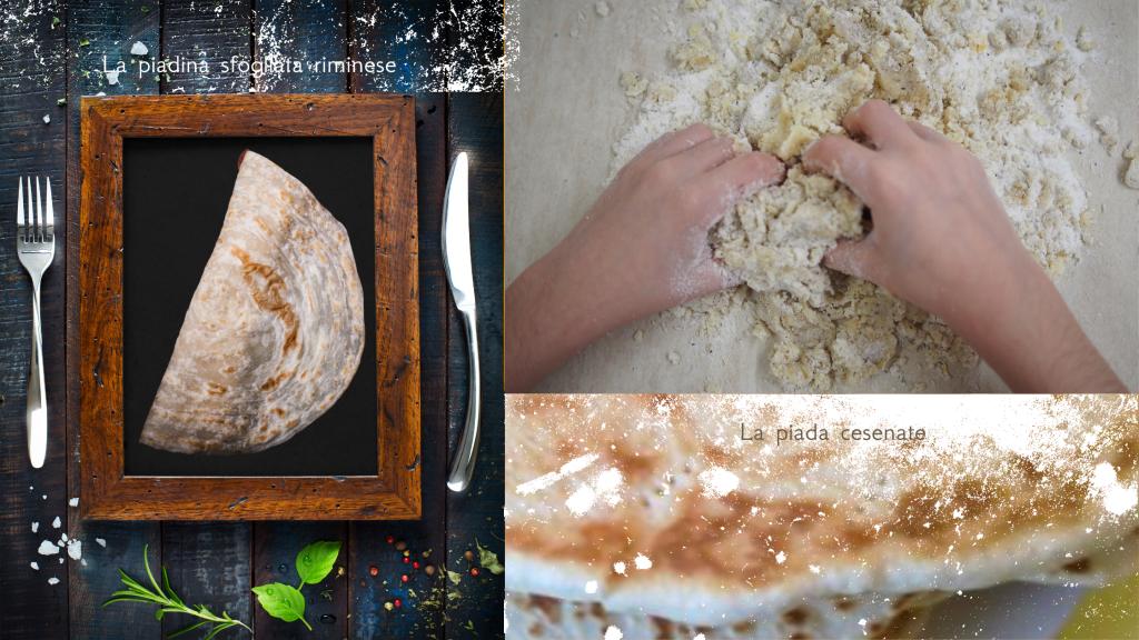 Due foto che evidenziano le diverse ricette per piadina. Una è sfogliata e sottile, l'altra grossa