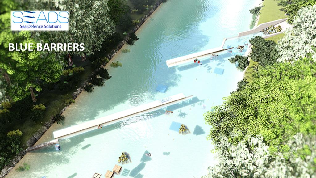 la plastica nei fiumi viene raccolta dalle due barriere disposte a distanza l'una dall'altra