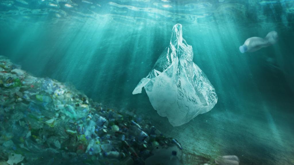 la plastica nei fiumi è per lo più a 50 cm dal pelo dell'acqua. In foto plastica che galleggia molto sotto il pelo dell'acqua.