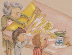 In questo disegno di Daniela Zauli c'è molta mia infanzia. Una nonna col pettine di osso tra i capelli grigi, tira la sfoglia. Attorno a lei i nipotini fanno la pasta e mangiano il ripieno cruda