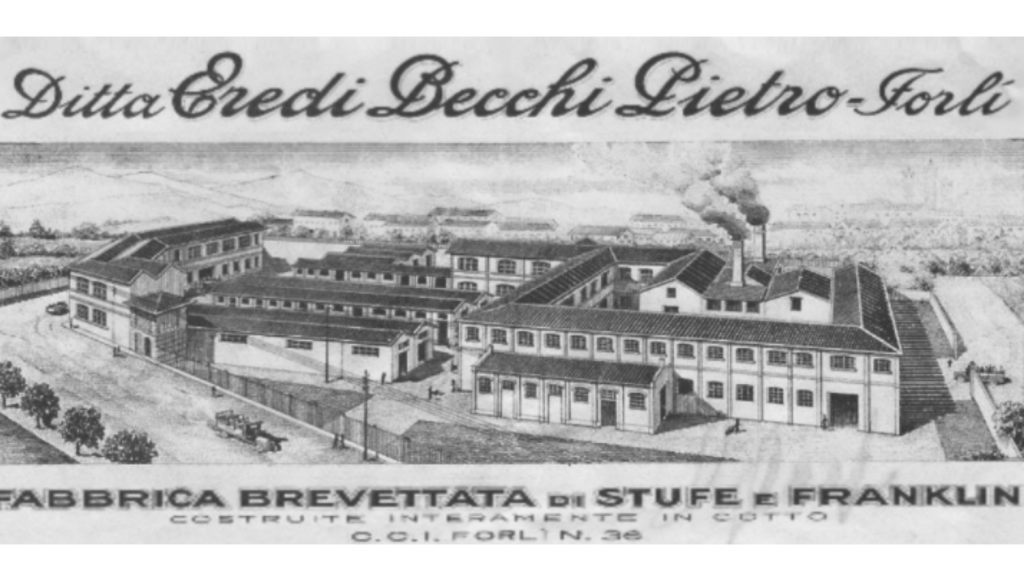 foto storica pubblicitaria delle fabbriche Becchi di Forlì