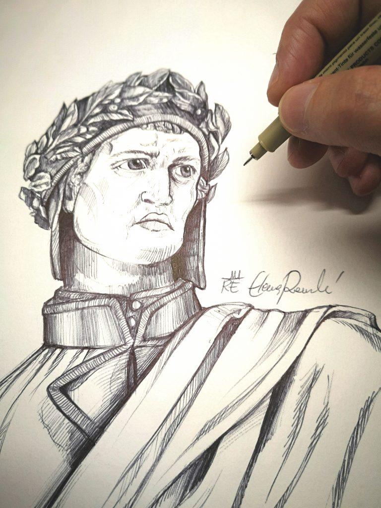 Disegno di Dante della romagnola Elena Raimondi in omaggio alla Ravenna di Dante