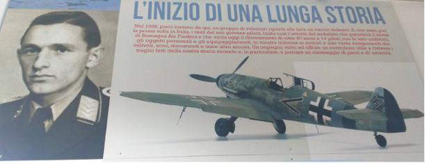 Hans Joachim Fisher così come è ricordato al museo dell'aviazione dei Romagna Air Finders a Fusignano di Ravenna ed a Maiano Monti