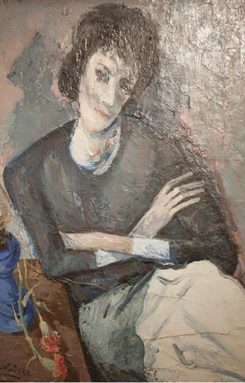 """Centenario di Giulio Ruffini: particolare del quadro """"Ritratto con lume blu"""" in mostra a Bagnacavallo riapertura musei in Romagna"""