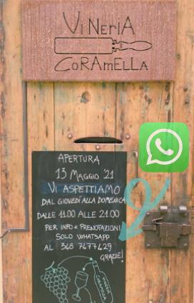 Orari di apertura della vineria Coramella dove bere a Brisighella vino naturale