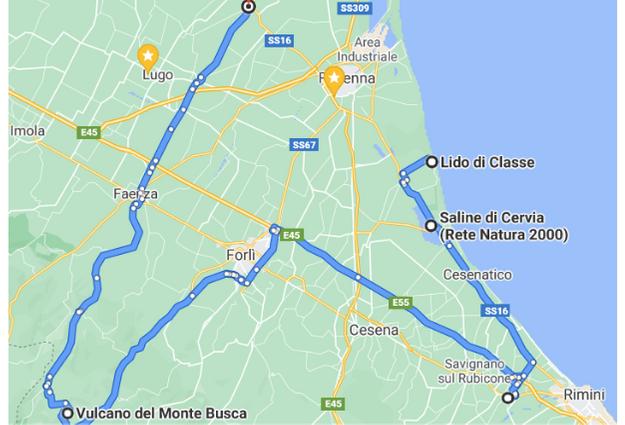 cosa vedere in Romagna le 5 tappe dell'itinerario della Romagna nascosta la spiaggia di Lido di Classe, le saline di Cervia, Santarcangelo di Romagna, Il vulcano più piccolo del mondo: il vulcano di Monte Busca, Il labirinto nel mais di Alfonsine