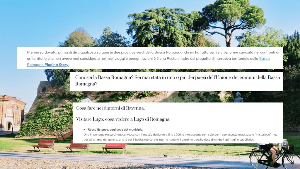 Nello sfondo si vedono i giardini pensili della rocca estense di Lugo di Romagna. In primo piamo titoli e paragrafi di Sabrina Barbante sulla Bassa Romagna e Lugo di Romagna e il progetto di narrazione territoriale Piadina Story di Elena Resta su elenaresta.com